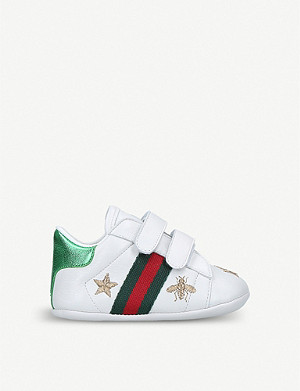 GUCCI New Ace bee star leather traines 0-1 years