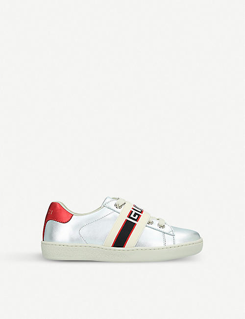 GUCCI New Ace metallic leather trainers