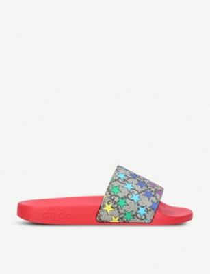 GUCCI Pursuit Rodeo star-print canvas and rubber slides 5-8 years