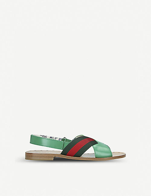 09d4c87b5 GUCCI Davis striped canvas and leather sandals