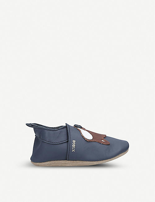 BOBUX Fox applique leather shoes 3 months-2 years