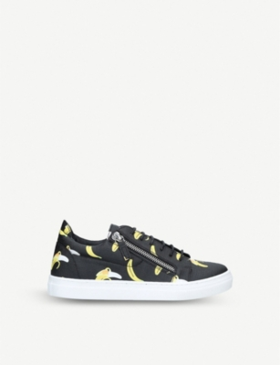 GIUSEPPE ZANOTTI Frankie banana-print leather trainers 4-8 years