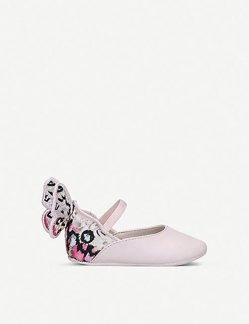 SOPHIA WEBSTER Chiara butterfly-embroidered leather ballet flats 4-6 months