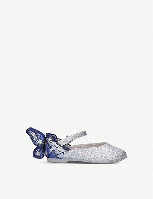 SOPHIA WEBSTER Chiara glitter and metallic-woven flats 1-10 years