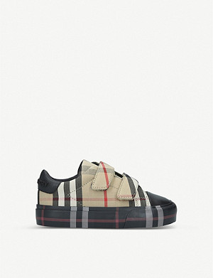BURBERRY Mini Markham checked canvas trainers