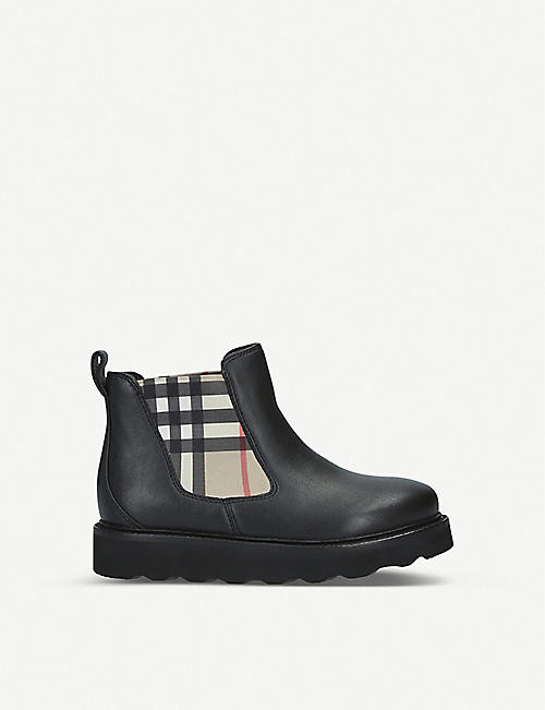 BURBERRY Hayden check-panel leather Chelsea boots 5–9 years