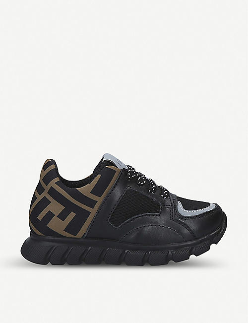 FENDI FF logo-print leather and canvas trainers