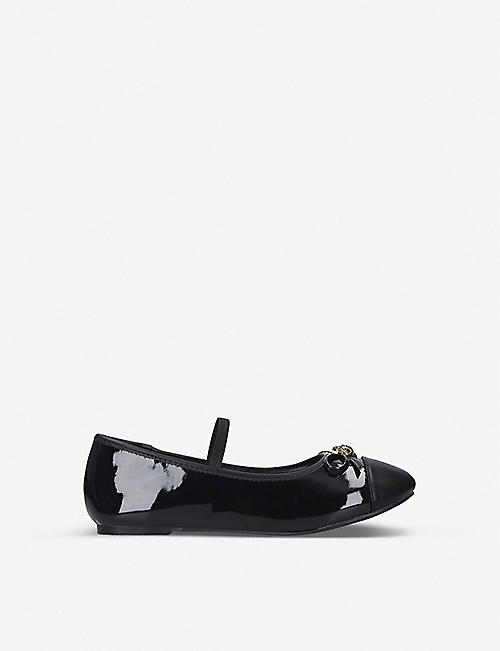 KURT GEIGER LONDON: Mini Esme patent ballerina shoes 7-10 years