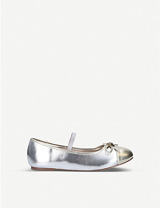 KURT GEIGER LONDON: Mini Esme metallic ballet flats Ages 8-13