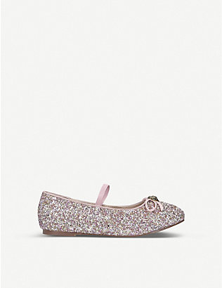 KURT GEIGER LONDON: Mini Esme glitter ballet flats 7-10 years