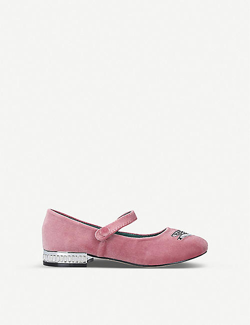 KURT GEIGER LONDON: Mini Leh swan-embellished pumps ages 8-13
