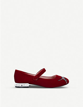 KURT GEIGER LONDON: Mini Leh Red Dalmatian Print Ballerina Flats Ages 2-7