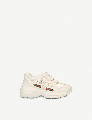 GUCCI: Rhyton logo-detail leather trainers 2-3 years