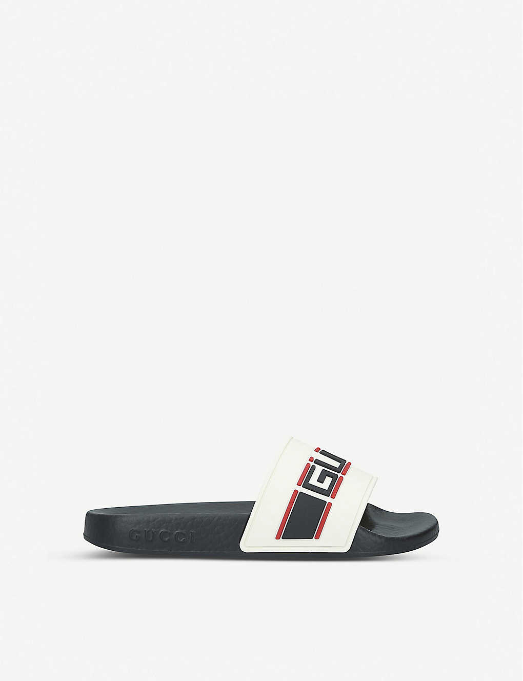 GUCCI: Gucci Nastro rubber sliders 5-7 years