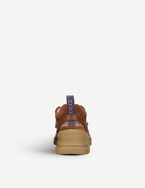 GUCCI Flashtrek leather and suede-panelled trainers 5-8 years