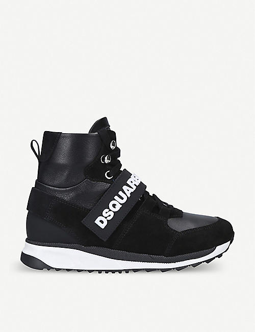 DSQUARED2 Martin leather and suede high-top trainers