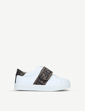 FENDI Logo-print leather trainers 3-5 years