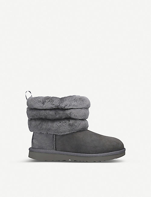 UGG Fluff Mini Quilted suede and sheepskin boots 7-10 years