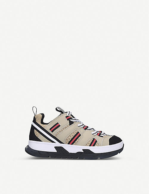 BURBERRY: Union woven low top trainers 5 - 9 years