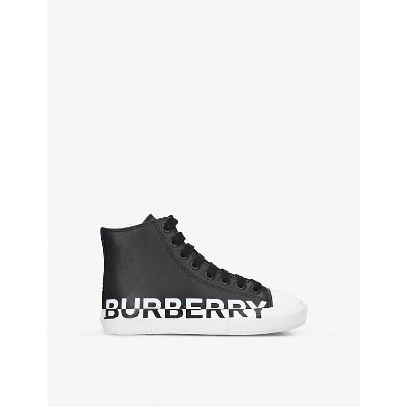 Burberry MINI LARKHALL LOGO-PRINT LEATHER HIGH-TOP TRAINERS 5-9 YEARS