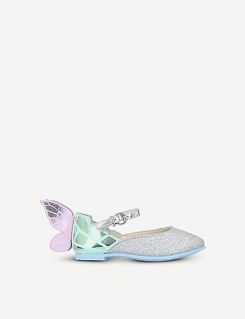 b32503b88817 SOPHIA WEBSTER Chiara mini metallic and glittered leather ballet flats 2-8  years