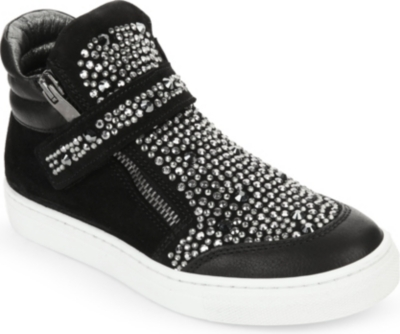 MISSOURI Suede embellished high top sneakers 6-7 years