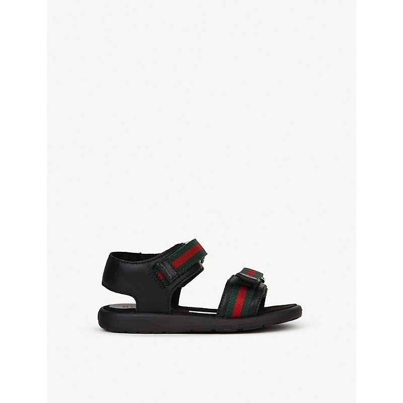 GUCCI | Gucci Gauffrette Leather Sandals 6 Months-4 Years EUR 24 / 7 UK KIDS, Black | Goxip