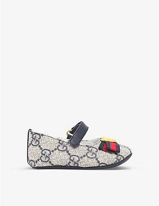 GUCCI: Baby Erin canvas ballet shoes 0-6 months