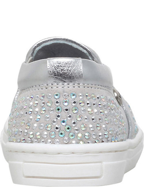 MISSOURI Blossom crystal-embellished slip-on leather trainers 2-5 years