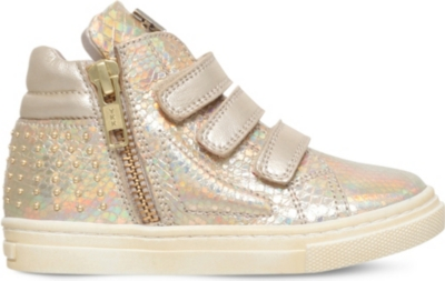 MISSOURI Rose embellished leather high-top trainers