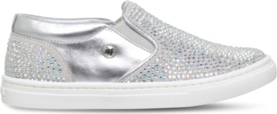 MISSOURI Blossom embellished leather trainers 5-7 years