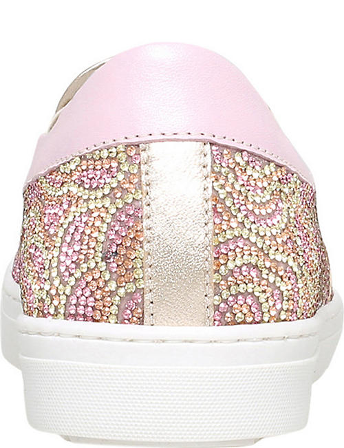 MISSOURI Flora crystal-embellished slip-on leather trainers 6-9 years