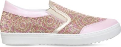 MISSOURI Flora crystal-embellished slip-on leather trainers 8-12 years