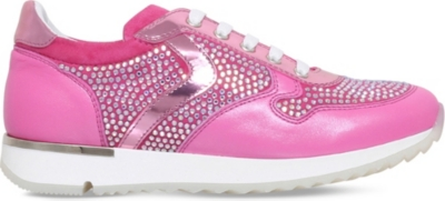 MISSOURI Heather crystal-embellished leather trainers 7-9 years