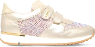 MISSOURI Peony crystal-embellished leather trainers 6-7 years