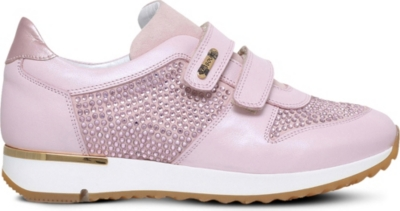 MISSOURI Peony embellished leather trainers 7-8 years