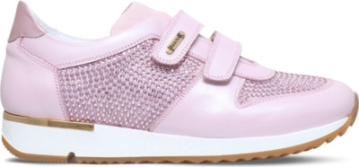 MISSOURI Peony embellished leather trainers 8-11 years