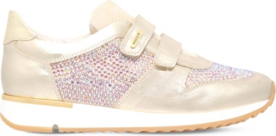 MISSOURI Peony embellished leather trainers 9-11 years