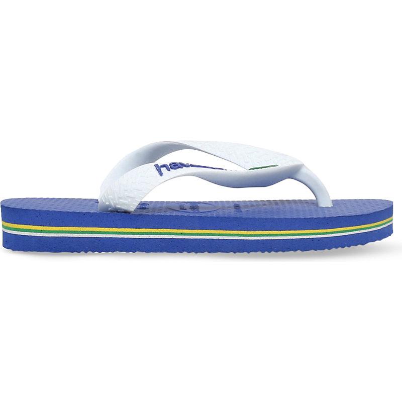 HAVAIANAS   Havaianas Brasil Logo Rubber Flip Flops 3-7 Years, Size: EUR 31 / 12.5 UK KIDS, Blue   Goxip