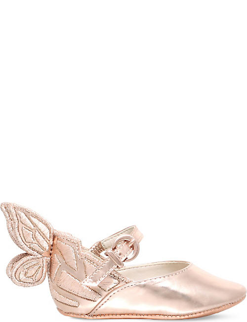 SOPHIA WEBSTER: Chiara butterfly leather ballet flats 0-6 months