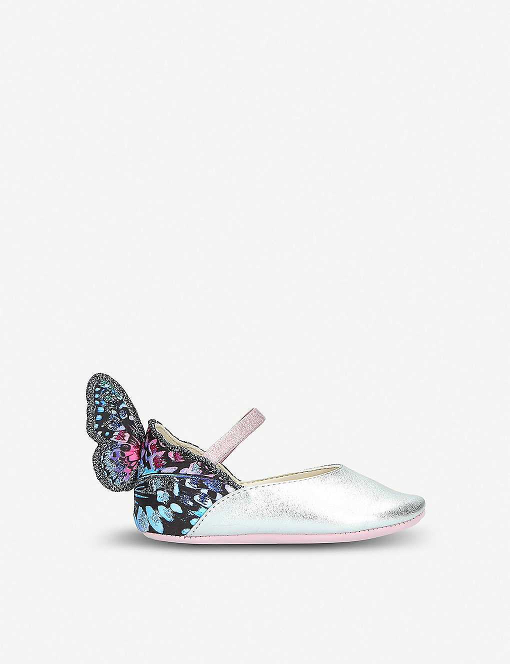 SOPHIA WEBSTER: Chiara Mini Butterfly embroidered metallic leather ballet flats 4 months-2years
