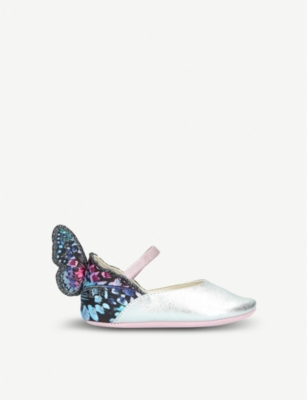 SOPHIA WEBSTER Chiara Mini Butterfly embroidered metallic leather ballet flats 4 months-2years