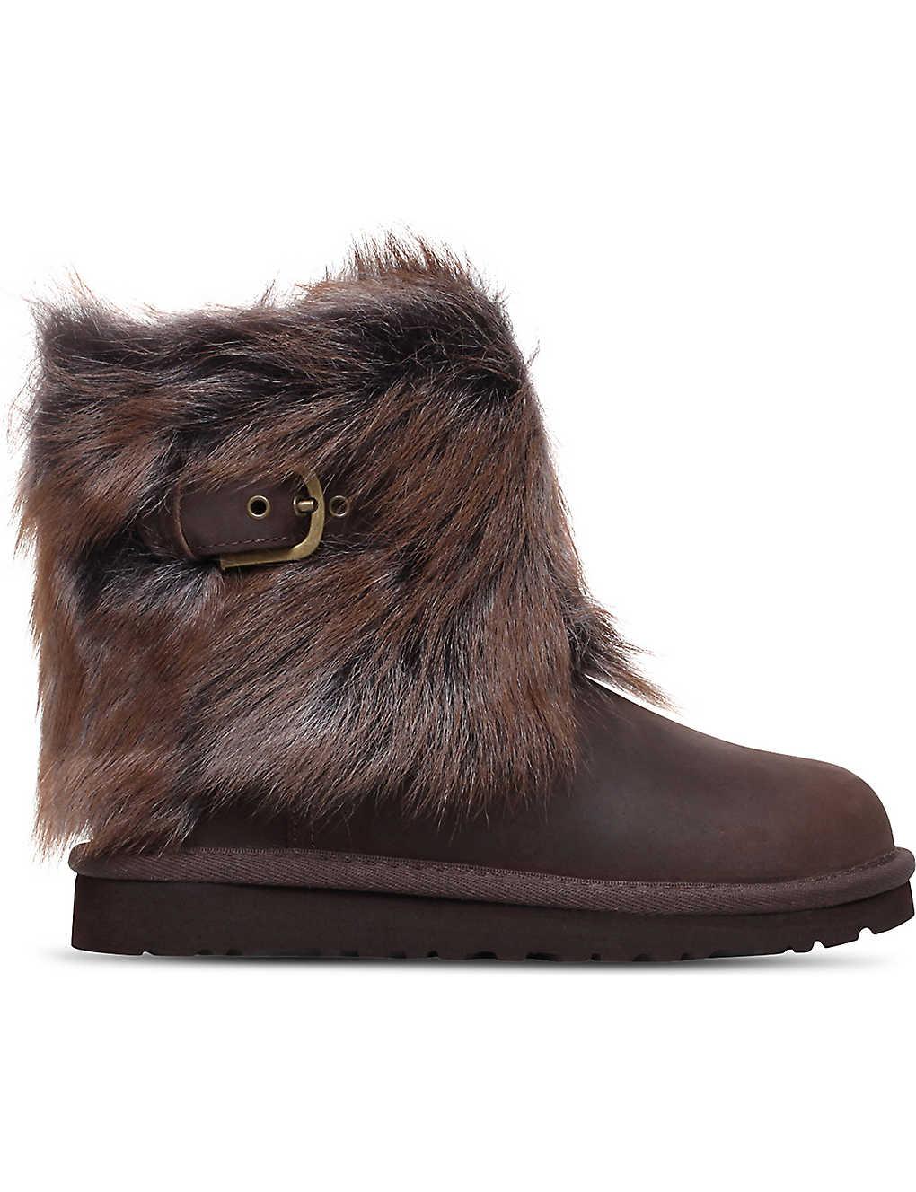 b3d168362c8 UGG - Ellee leather and sheepskin boots 4-8 years | Selfridges.com