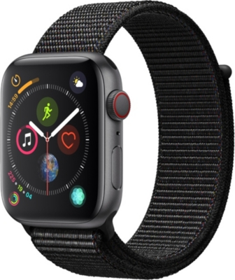 APPLE Series 4 44mm Cellular Apple Watch Space Grey with aluminium Black Sports Loop