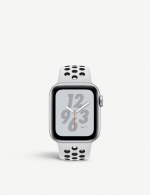 APPLE Nike+ Watch Series 4, 40mm, Cellular, Silver Aluminium, Pure Platinum Black, Sports Band