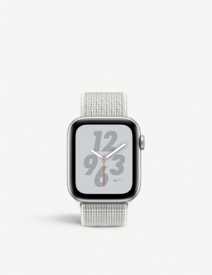 APPLE Nike+ Watch Series 4, 44mm, Cellular, Silver Aluminium, Summit White, Sports Loop