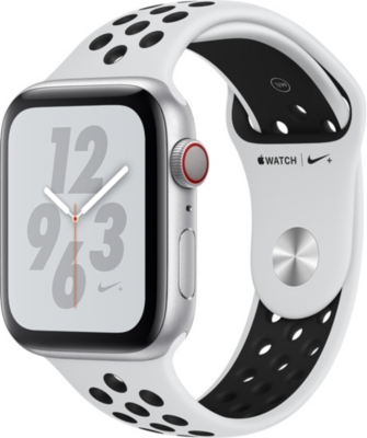 APPLE Nike+ Watch Series 4, 44mm, Cellular, Silver Aluminium, Pure Platinum Black, Sports Band