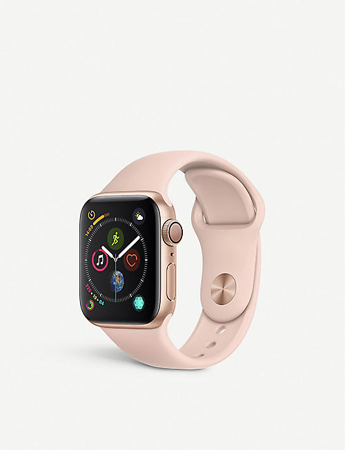 APPLE Watch Series 4, 40mm, GPS, Gold Aluminium, Pink Sand, Sports Band