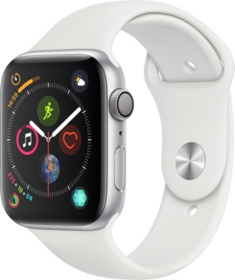APPLE Watch Series 4, 44mm, GPS, Silver Aluminium, White, Sports Band