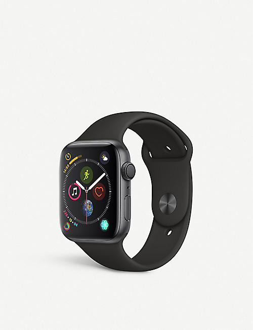 APPLE Watch Series 4, 44mm, GPS, Space Grey Aluminium, Black, Sports Band